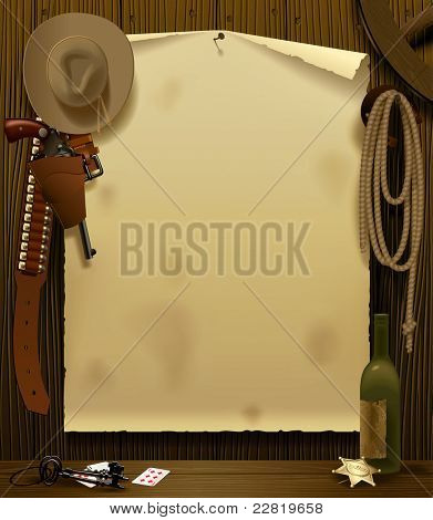Raster version of vector illustration with a Wild West Relay Poster in the environment of cowboy accessories on the wood wall background