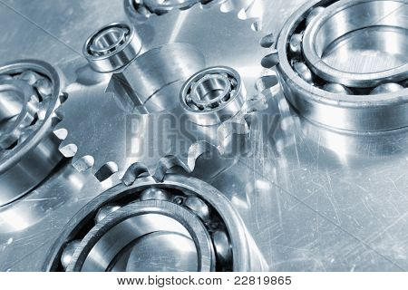 engineering and technology in titanium and steel, focal-point in the middle. blue toning idea.