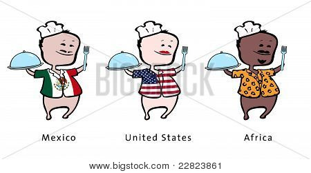 Chef of restaurant from Mexico United States Africa - vector illustration