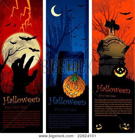 Vertical copy space halloween party invitation banners