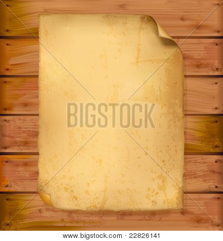 Old paper on a wooden wall. Background vector.