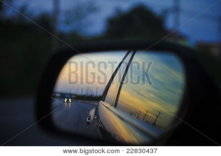 Sunset In Side Mirror