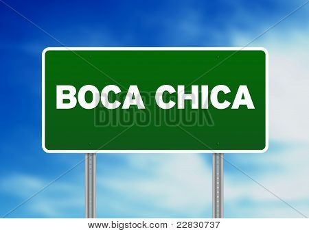 Green Road Sign - Boca Chica, Dominican Republic