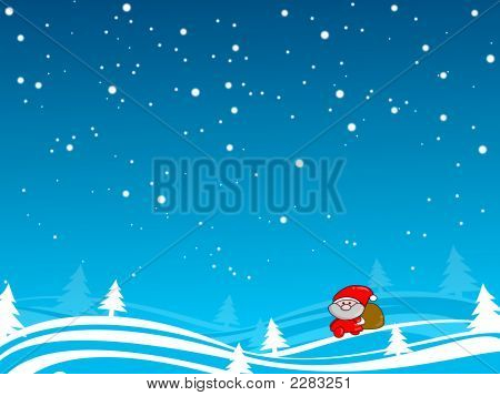 Santa Walk Under The Snow Blue Sky