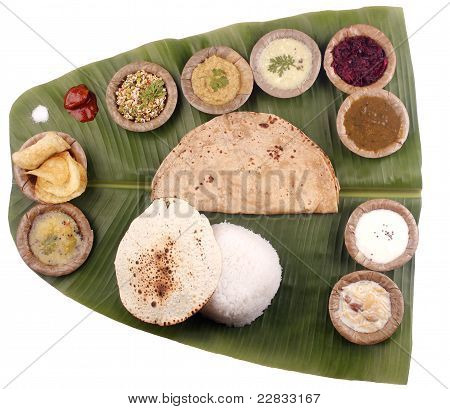 South Indian Lunch On Banana Leaf With Clipping Mask