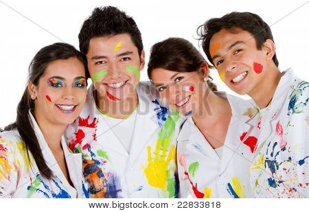 Group of painters with their robes full of paint ? isolated over white