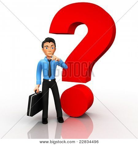 Doubtful business man in 3D with a question mark - isolated on white