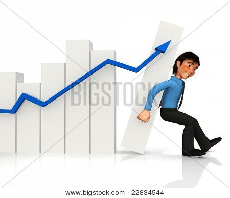 3D business man keeping a growth graph from falling ? isolated over white
