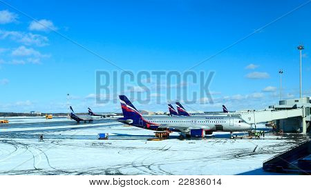 Airplanes of Aeroflot company in Sheremetyevo 2 airport, Moscow
