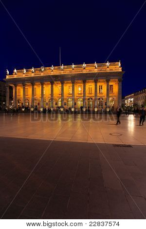 Night View Of Grand Theater  Bordeaux (1780, Designed By Victor Louis), Home To The National Opera B