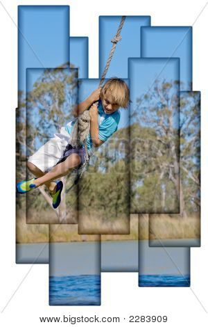 Boy On Rope Collage