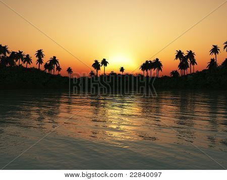 Tropical Lagoon At Sunset.