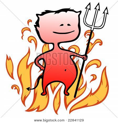 Little devil with flames in background - Halloween - vector illustration