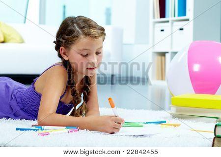 Retrato de niña preciosa dibujo con lápices de colores