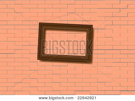Woden  Frame On Brick Wall