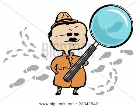 Detective or private investigator with a magnifying glass and footprints - vector illustration
