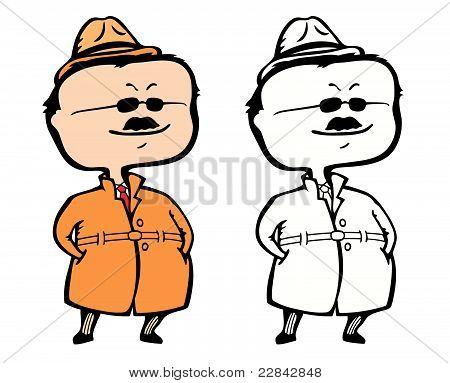 Smiling private detective inspector or secret agent incognito
