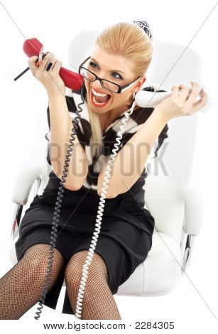Stressed Businesswoman In White Chair