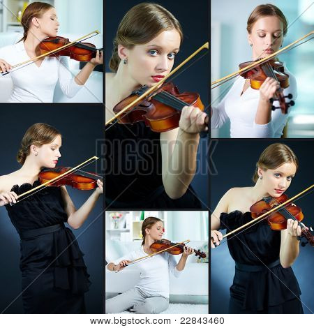 Portrait of a young female playing the violin