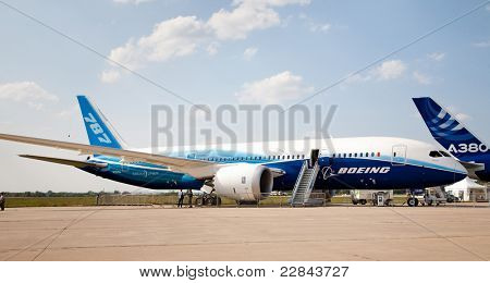 MOSCOW, RUSSIA, AUGUST,16: NEW BOEING 787 at the International Aviation and Space salon MAKS 2011. August 16, 2011 at Zhukovsky, Russia