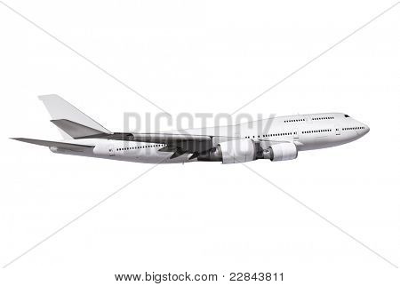 avión comercial sobre fondo blanco con ruta