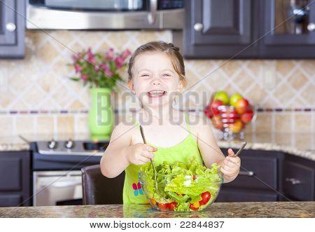 Girl Making Salad