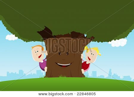Happy Kids And Friendly Tree