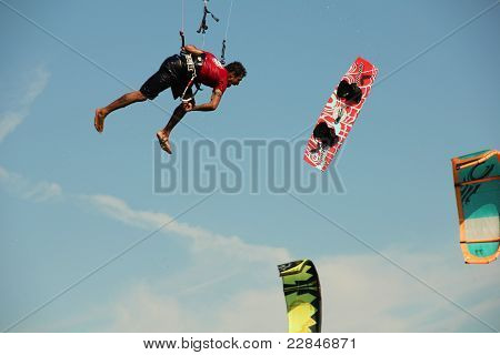 Kite Boarder loses his board in mid air