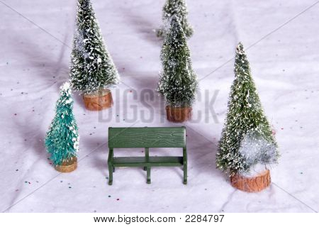 Christmas Village Park Bench