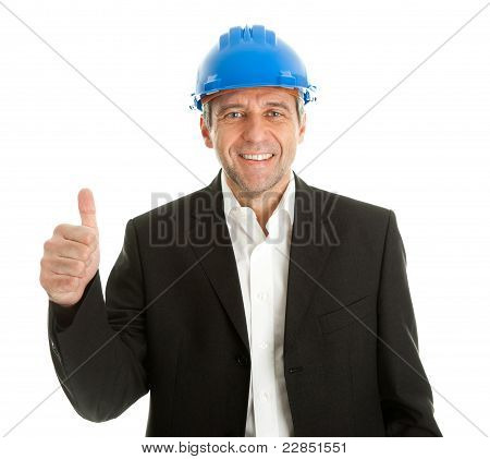 Happy architect celebrating success