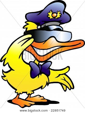 Hand-drawn Vector Illustration Of An Duck In Uniform