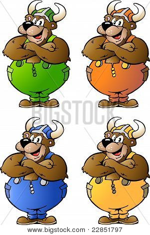 Hand-drawn Vector Illustrations Of 4 Viking Bear In Colored Overalls