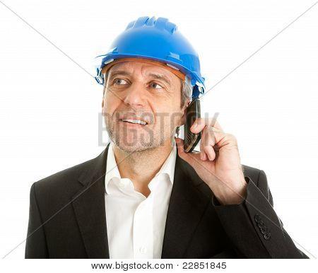 Arachitect talking on cellphone