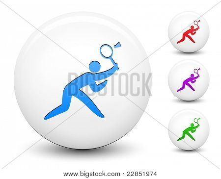 Badminton Icon on Round White Button Collection Original Illustration