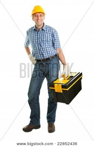 Repairman wearing hard hat