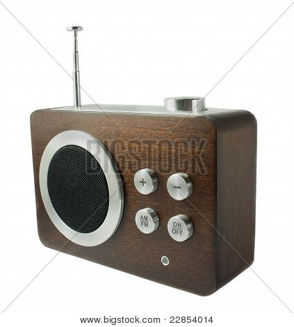 The Old Fashioned Radio Receiver Isolated On White
