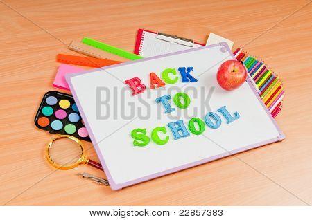 School items on the desk