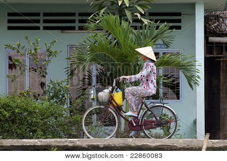 Vietnamese Woman on Bicycle