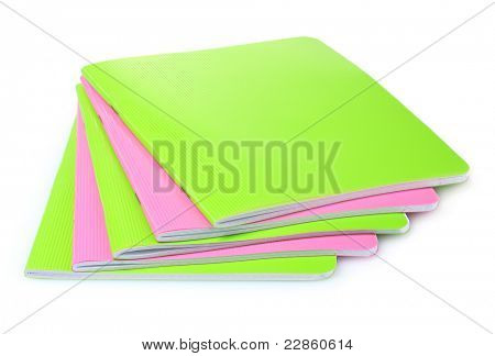green and pink notebook isolated on white