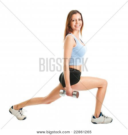 Fitness woman doing lunge exercise