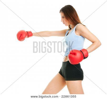 Beautiful woman practicing boxing