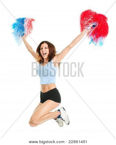 Smiling cheerleader girl posing with pom poms