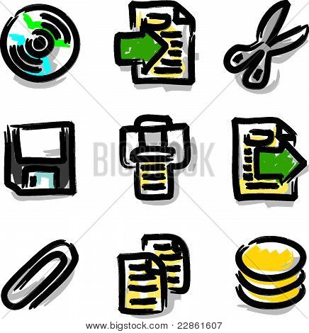 Vector web icons marker colour contour files
