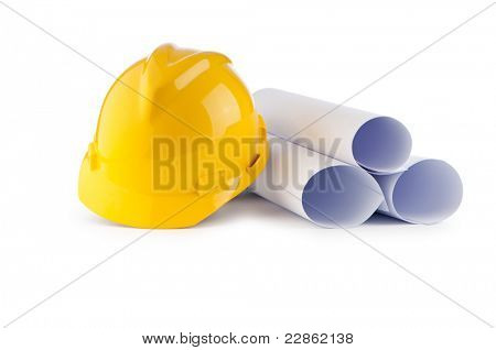 Hard hat and drawings isolated on white