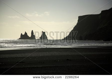Silhouetted Sea Stacks