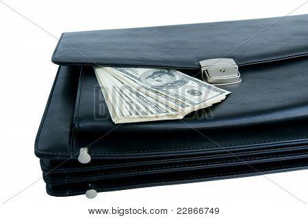 Black Briefcase And Money