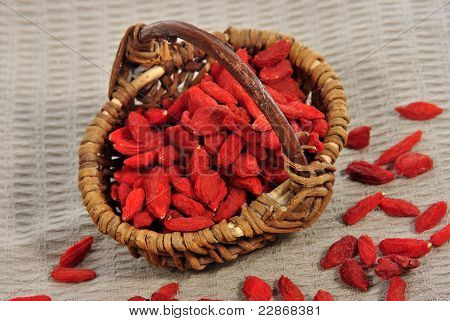 Some Goji Berries In A Small Brown Basket