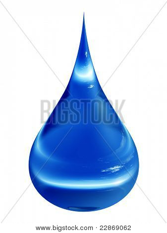 High resolution conceptual blue water drop falling isolated on white background