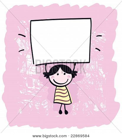 Cute Doodle Retro Kid Holding Blank Banner Sign Isolated On Pink.