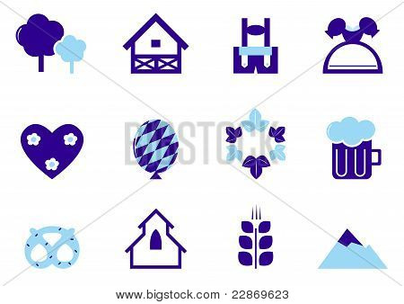 Octoberfest, Munich And Germany Icon Set Isolated On White ( Blue ).